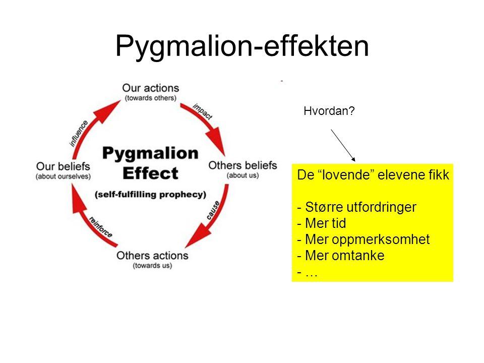 """Pygmalion-effekten De """"lovende"""" elevene fikk - Større utfordringer - Mer tid - Mer oppmerksomhet - Mer omtanke - … Hvordan?"""