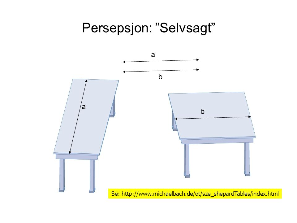 "Persepsjon: ""Selvsagt"" Se: http://www.michaelbach.de/ot/sze_shepardTables/index.html a b a b"
