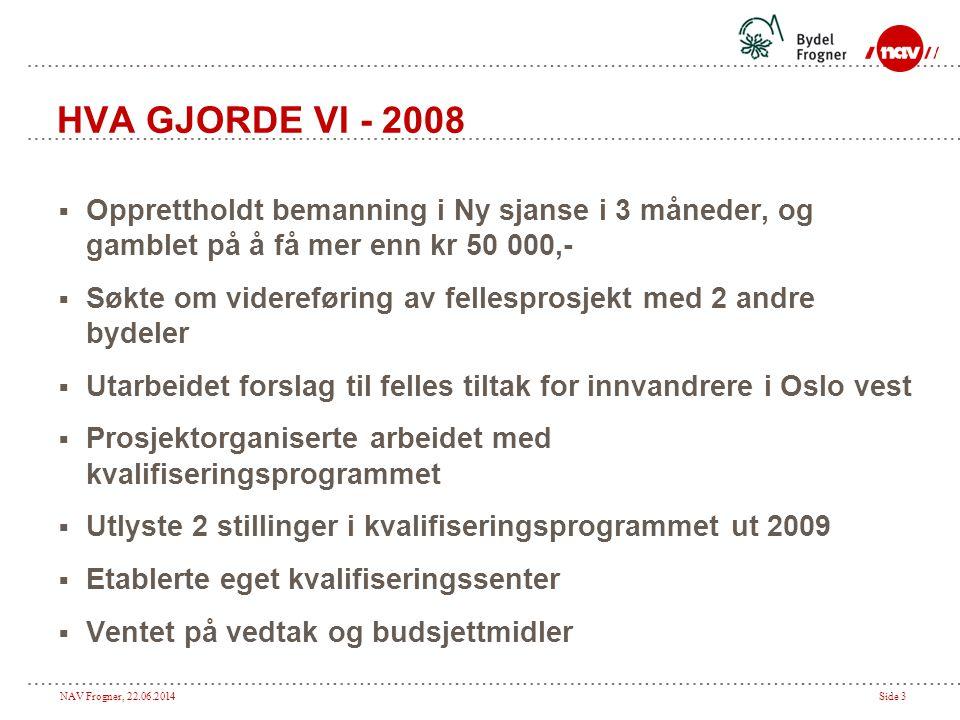 NAV Frogner, 22.06.2014Side 3 HVA GJORDE VI - 2008  Opprettholdt bemanning i Ny sjanse i 3 måneder, og gamblet på å få mer enn kr 50 000,-  Søkte om