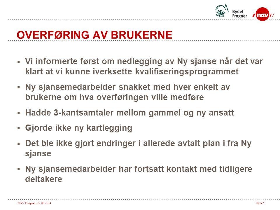 NAV Frogner, 22.06.2014Side 5 OVERFØRING AV BRUKERNE  Vi informerte først om nedlegging av Ny sjanse når det var klart at vi kunne iverksette kvalifi