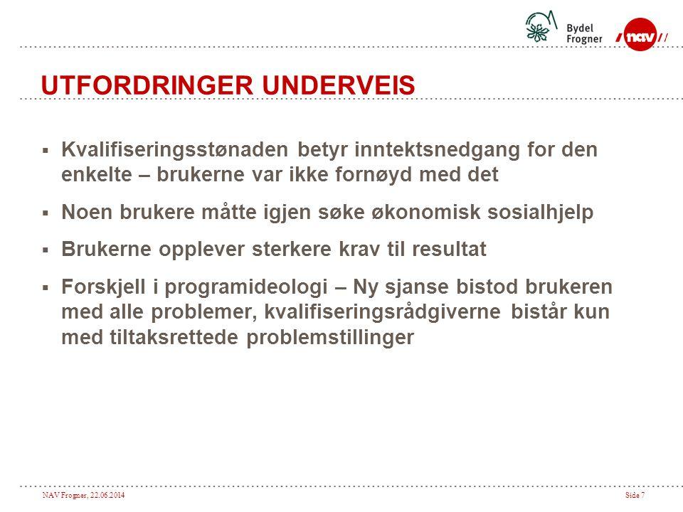 NAV Frogner, 22.06.2014Side 7 UTFORDRINGER UNDERVEIS  Kvalifiseringsstønaden betyr inntektsnedgang for den enkelte – brukerne var ikke fornøyd med de