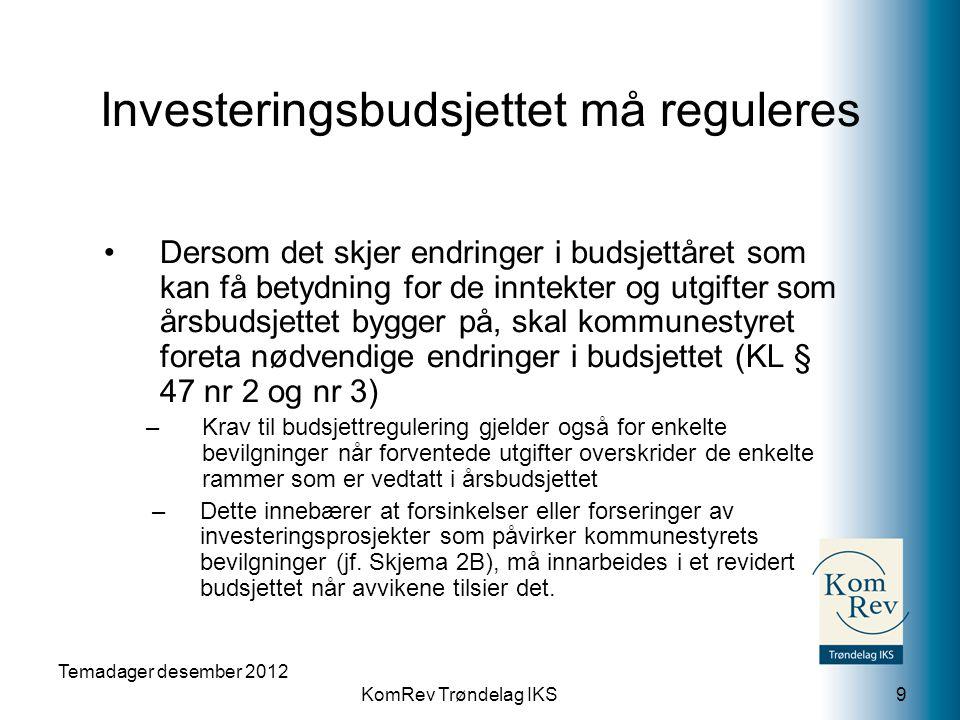 KomRev Trøndelag IKS Temadager desember 2012 9 •Dersom det skjer endringer i budsjettåret som kan få betydning for de inntekter og utgifter som årsbud