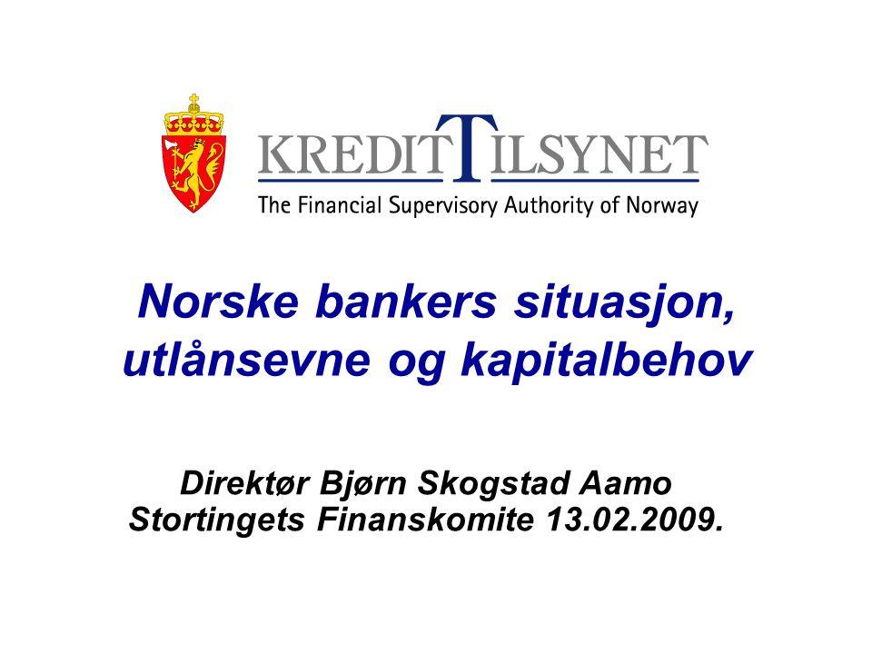 Norske bankers situasjon, utlånsevne og kapitalbehov Direktør Bjørn Skogstad Aamo Stortingets Finanskomite 13.02.2009.