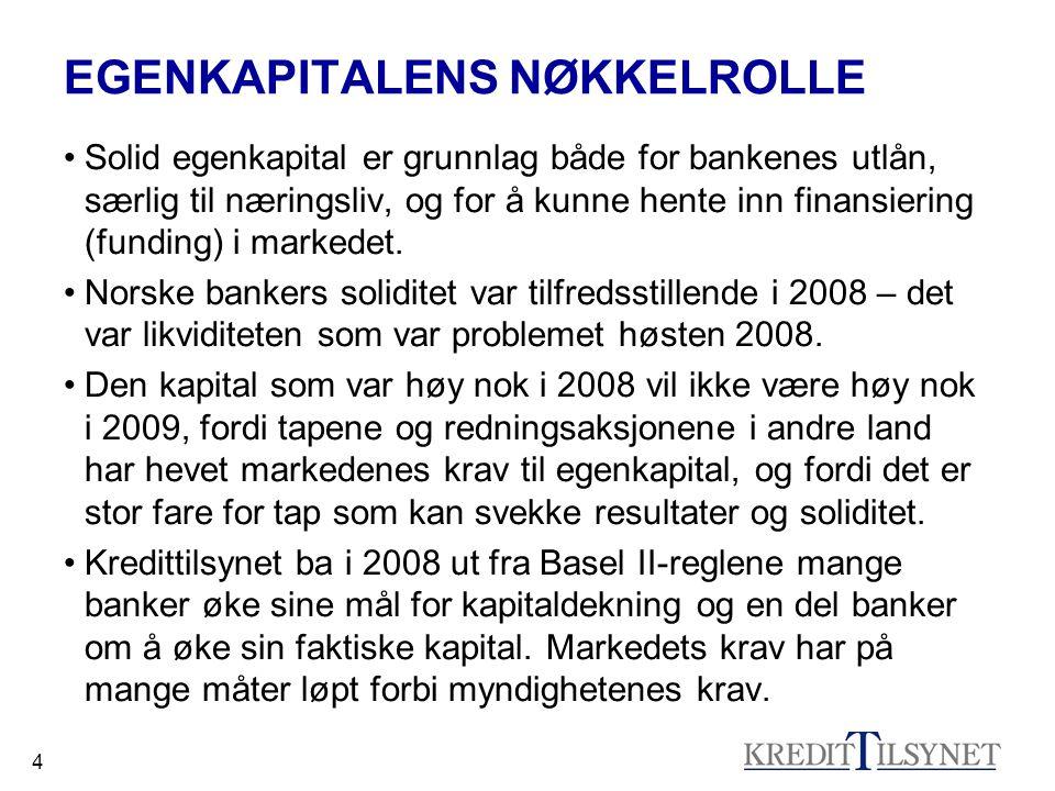 4 EGENKAPITALENS NØKKELROLLE •Solid egenkapital er grunnlag både for bankenes utlån, særlig til næringsliv, og for å kunne hente inn finansiering (funding) i markedet.
