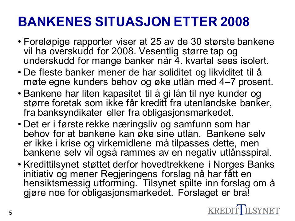 5 BANKENES SITUASJON ETTER 2008 •Foreløpige rapporter viser at 25 av de 30 største bankene vil ha overskudd for 2008.