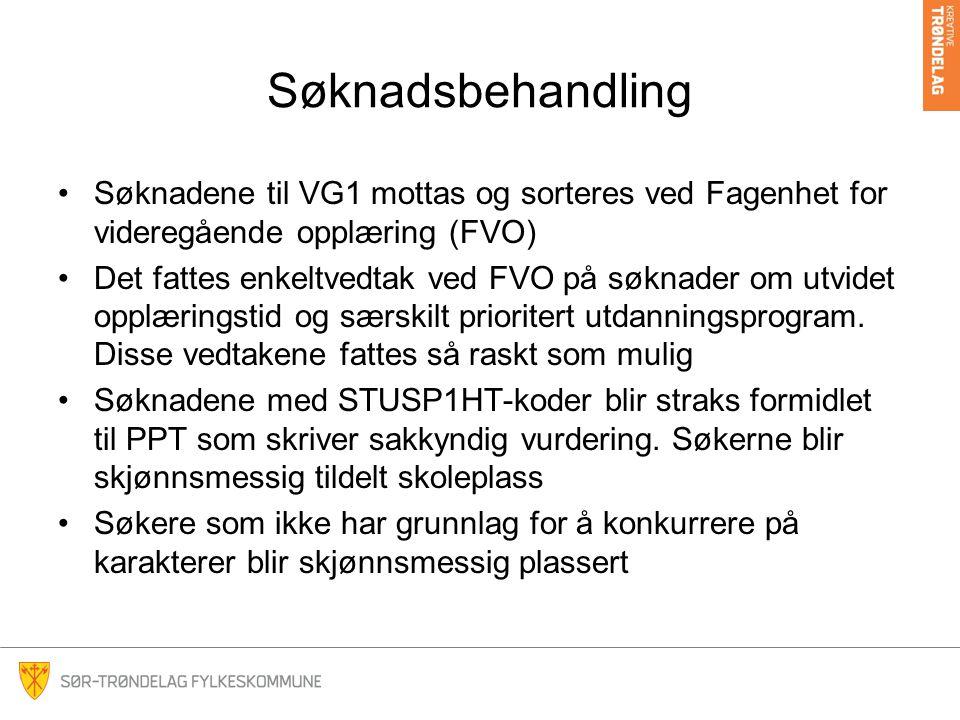 Søknadsbehandling •Søknadene til VG1 mottas og sorteres ved Fagenhet for videregående opplæring (FVO) •Det fattes enkeltvedtak ved FVO på søknader om utvidet opplæringstid og særskilt prioritert utdanningsprogram.