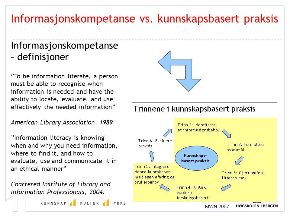 """MWN 2007 Informasjonskompetanse vs. kunnskapsbasert praksis Informasjonskompetanse – definisjoner """"To be information literate, a person must be able t"""