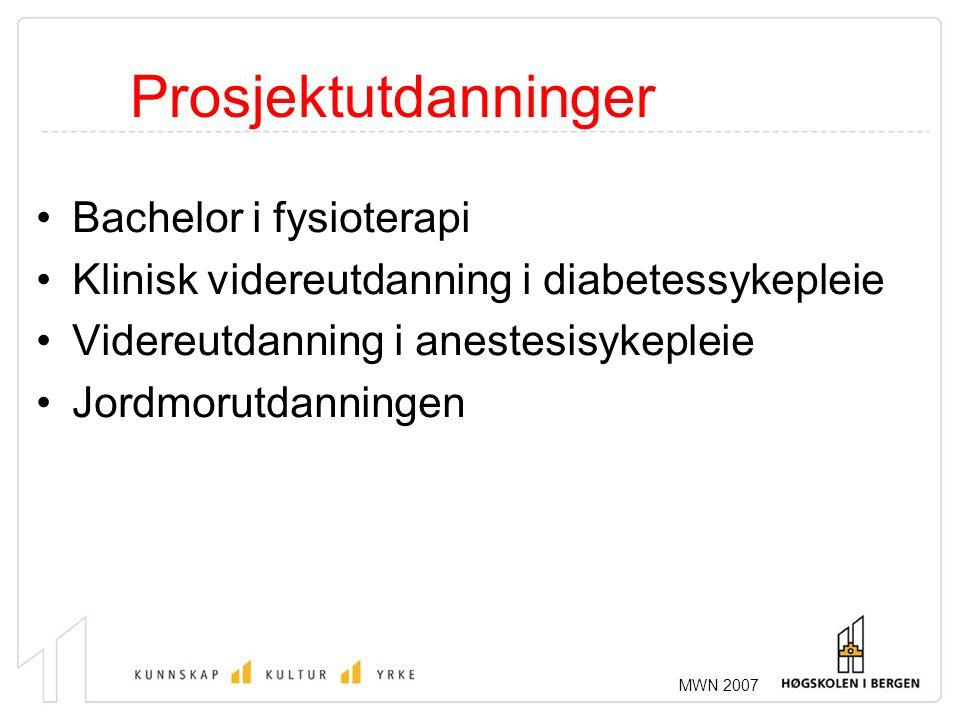 MWN 2007 Prosjektutdanninger •Bachelor i fysioterapi •Klinisk videreutdanning i diabetessykepleie •Videreutdanning i anestesisykepleie •Jordmorutdanni