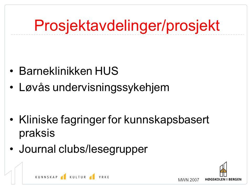 MWN 2007 Prosjektavdelinger/prosjekt •Barneklinikken HUS •Løvås undervisningssykehjem •Kliniske fagringer for kunnskapsbasert praksis •Journal clubs/l