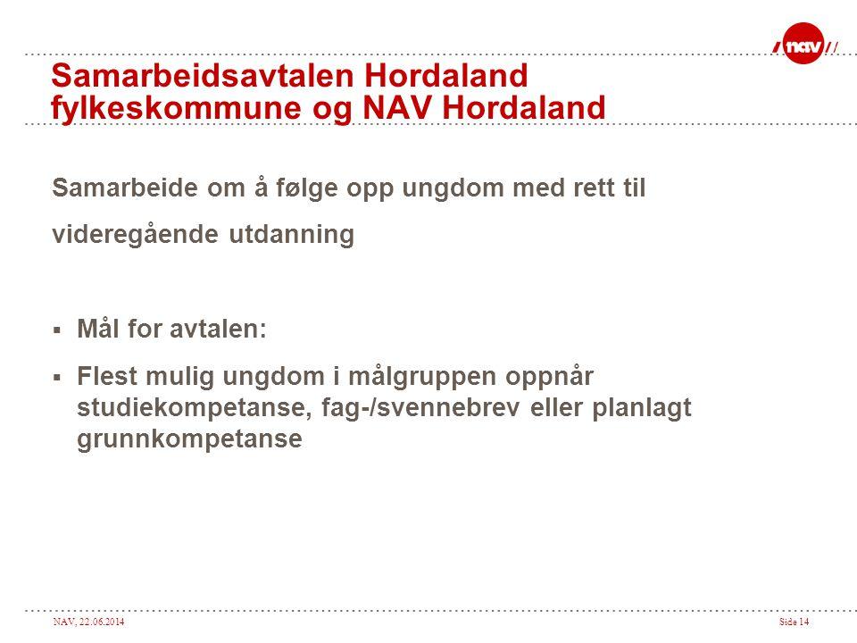 NAV, 22.06.2014Side 14 Samarbeidsavtalen Hordaland fylkeskommune og NAV Hordaland Samarbeide om å følge opp ungdom med rett til videregående utdanning