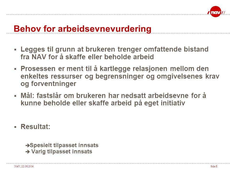 NAV, 22.06.2014Side 8 Behov for arbeidsevnevurdering  Legges til grunn at brukeren trenger omfattende bistand fra NAV for å skaffe eller beholde arbe