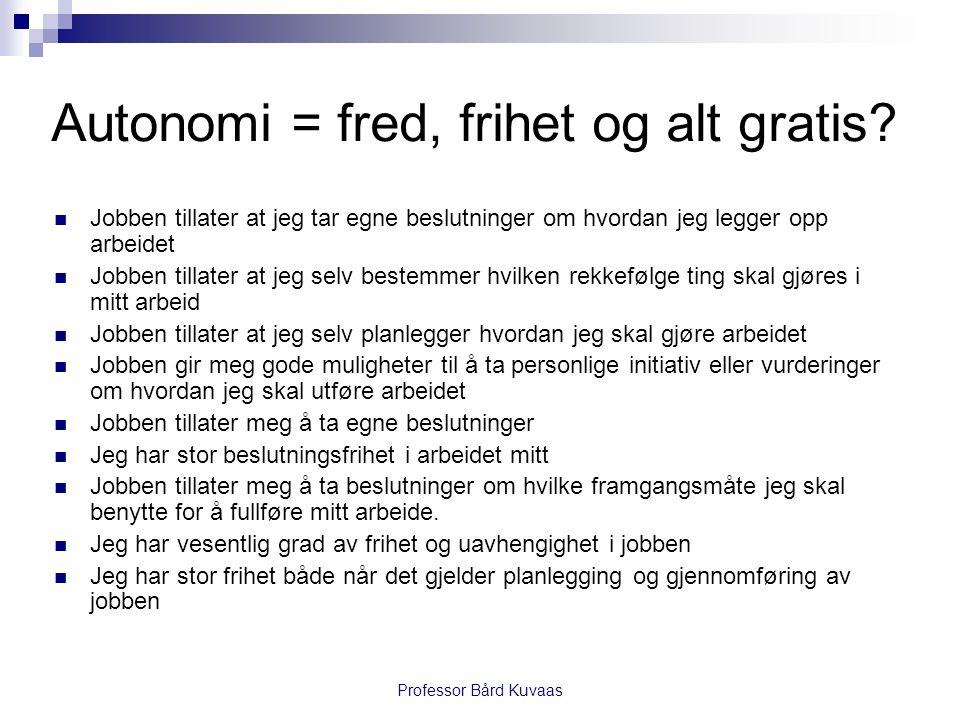 Professor Bård Kuvaas Autonomi = fred, frihet og alt gratis.