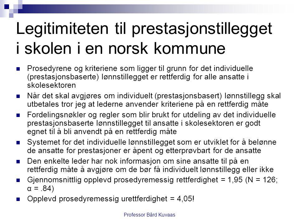 Professor Bård Kuvaas Legitimiteten til prestasjonstillegget i skolen i en norsk kommune  Prosedyrene og kriteriene som ligger til grunn for det individuelle (prestasjonsbaserte) lønnstillegget er rettferdig for alle ansatte i skolesektoren  Når det skal avgjøres om individuelt (prestasjonsbasert) lønnstillegg skal utbetales tror jeg at lederne anvender kriteriene på en rettferdig måte  Fordelingsnøkler og regler som blir brukt for utdeling av det individuelle prestasjonsbaserte lønnstillegget til ansatte i skolesektoren er godt egnet til å bli anvendt på en rettferdig måte  Systemet for det individuelle lønnstillegget som er utviklet for å belønne de ansatte for prestasjoner er åpent og etterprøvbart for de ansatte  Den enkelte leder har nok informasjon om sine ansatte til på en rettferdig måte å avgjøre om de bør få individuelt lønnstillegg eller ikke  Gjennomsnittlig opplevd prosedyremessig rettferdighet = 1,95 (N = 126; α =.84)  Opplevd prosedyremessig urettferdighet = 4,05!