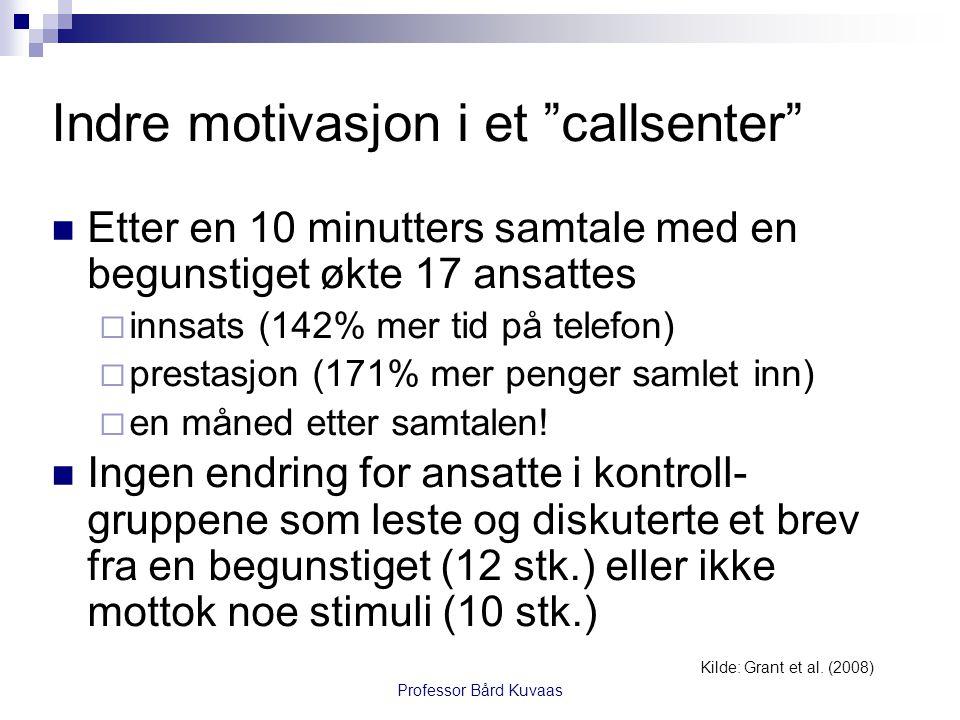 Professor Bård Kuvaas Indre motivasjon i et callsenter  Etter en 10 minutters samtale med en begunstiget økte 17 ansattes  innsats (142% mer tid på telefon)  prestasjon (171% mer penger samlet inn)  en måned etter samtalen.