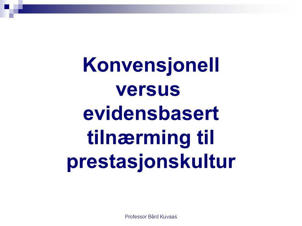 Professor Bård Kuvaas Konvensjonell versus evidensbasert tilnærming til prestasjonskultur