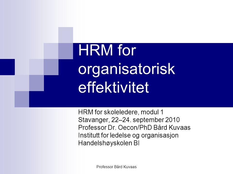 Professor Bård Kuvaas HRM for organisatorisk effektivitet HRM for skoleledere, modul 1 Stavanger, 22–24. september 2010 Professor Dr. Oecon/PhD Bård K