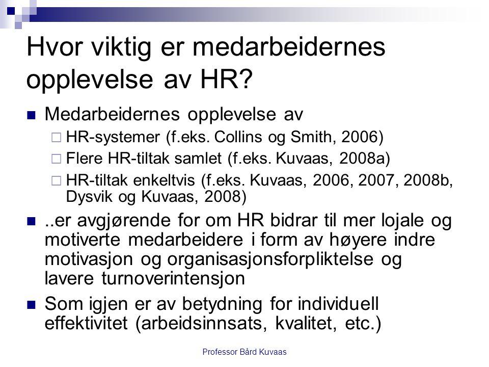 Professor Bård Kuvaas Hvor viktig er medarbeidernes opplevelse av HR?  Medarbeidernes opplevelse av  HR-systemer (f.eks. Collins og Smith, 2006)  F
