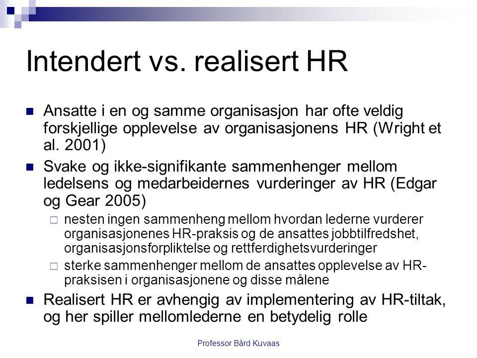 Professor Bård Kuvaas Intendert vs. realisert HR  Ansatte i en og samme organisasjon har ofte veldig forskjellige opplevelse av organisasjonens HR (W