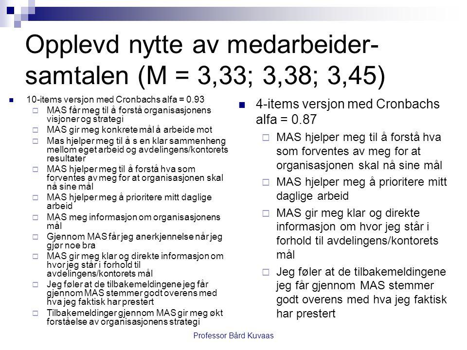 Professor Bård Kuvaas  10-items versjon med Cronbachs alfa = 0.93  MAS får meg til å forstå organisasjonens visjoner og strategi  MAS gir meg konkr
