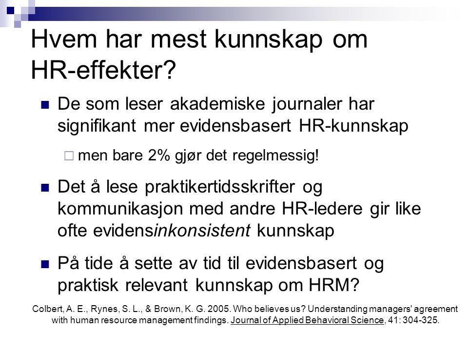 Hvem har mest kunnskap om HR-effekter?  De som leser akademiske journaler har signifikant mer evidensbasert HR-kunnskap  men bare 2% gjør det regelm