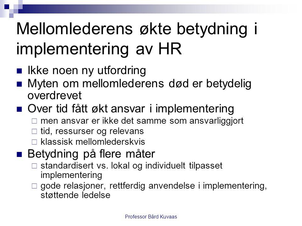 Professor Bård Kuvaas Mellomlederens økte betydning i implementering av HR  Ikke noen ny utfordring  Myten om mellomlederens død er betydelig overdr