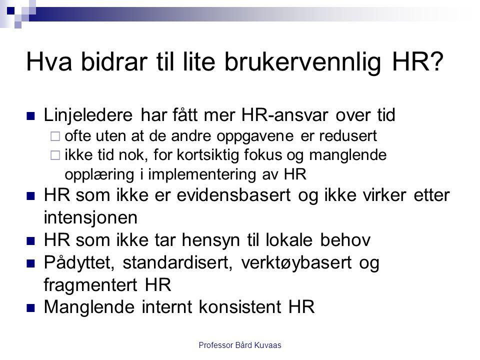 Hva bidrar til lite brukervennlig HR?  Linjeledere har fått mer HR-ansvar over tid  ofte uten at de andre oppgavene er redusert  ikke tid nok, for