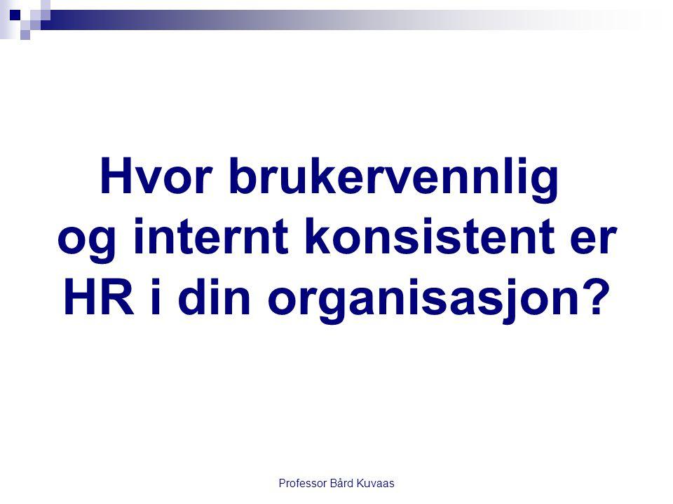 Professor Bård Kuvaas Hvor brukervennlig og internt konsistent er HR i din organisasjon?