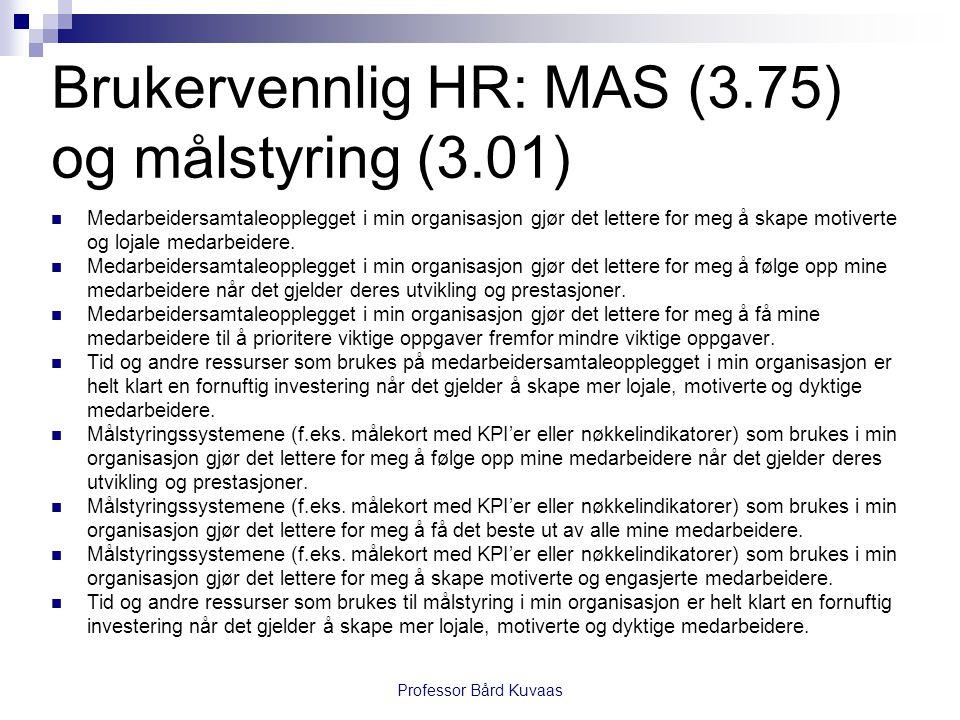 Brukervennlig HR: MAS (3.75) og målstyring (3.01)  Medarbeidersamtaleopplegget i min organisasjon gjør det lettere for meg å skape motiverte og lojal