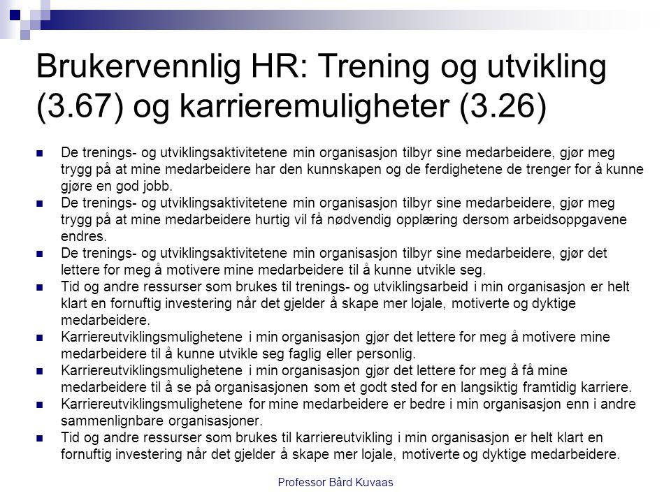 Brukervennlig HR: Trening og utvikling (3.67) og karrieremuligheter (3.26)  De trenings- og utviklingsaktivitetene min organisasjon tilbyr sine medar