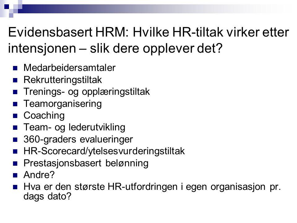 Evidensbasert HRM: Hvilke HR-tiltak virker etter intensjonen – slik dere opplever det?  Medarbeidersamtaler  Rekrutteringstiltak  Trenings- og oppl