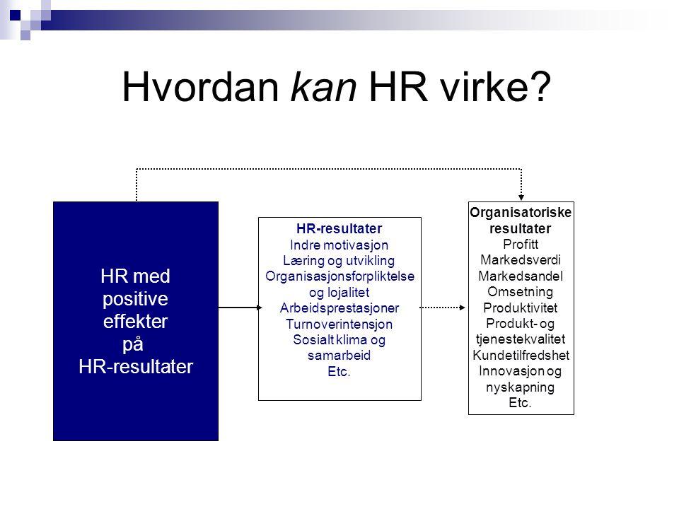Hvordan kan HR virke? HR-resultater Indre motivasjon Læring og utvikling Organisasjonsforpliktelse og lojalitet Arbeidsprestasjoner Turnoverintensjon