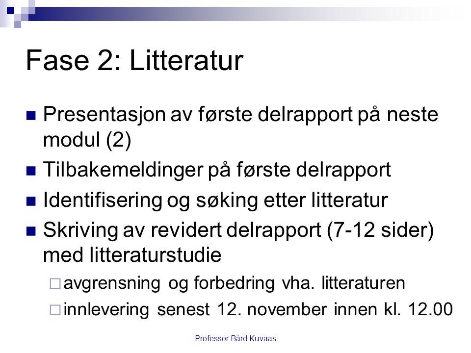 Fase 2: Litteratur  Presentasjon av første delrapport på neste modul (2)  Tilbakemeldinger på første delrapport  Identifisering og søking etter lit