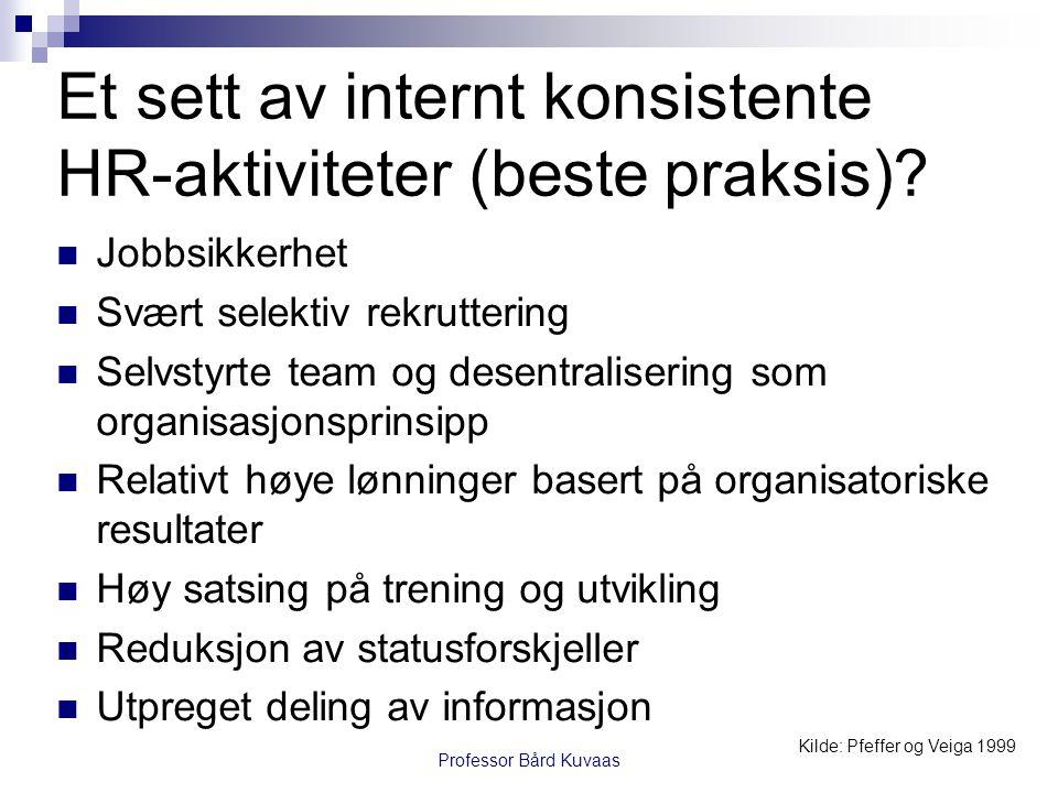 Et sett av internt konsistente HR-aktiviteter (beste praksis)?  Jobbsikkerhet  Svært selektiv rekruttering  Selvstyrte team og desentralisering som