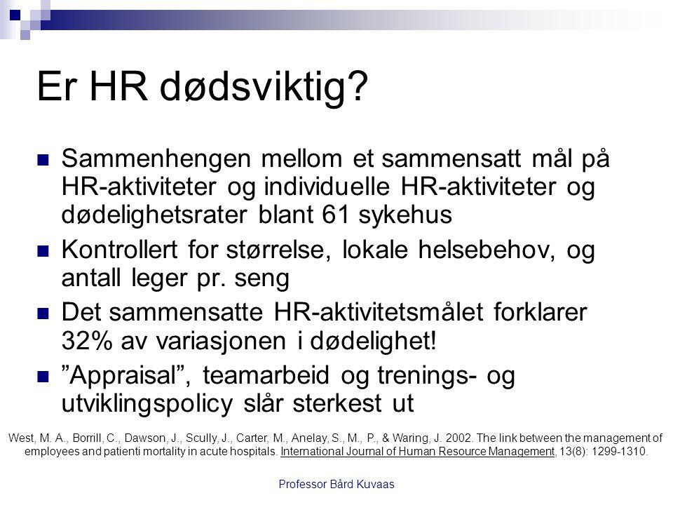 Er HR dødsviktig?  Sammenhengen mellom et sammensatt mål på HR-aktiviteter og individuelle HR-aktiviteter og dødelighetsrater blant 61 sykehus  Kont
