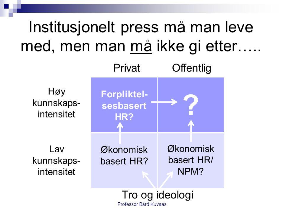 Institusjonelt press må man leve med, men man må ikke gi etter….. Forpliktel- sesbasert HR? ? Økonomisk basert HR? Økonomisk basert HR/ NPM? Professor