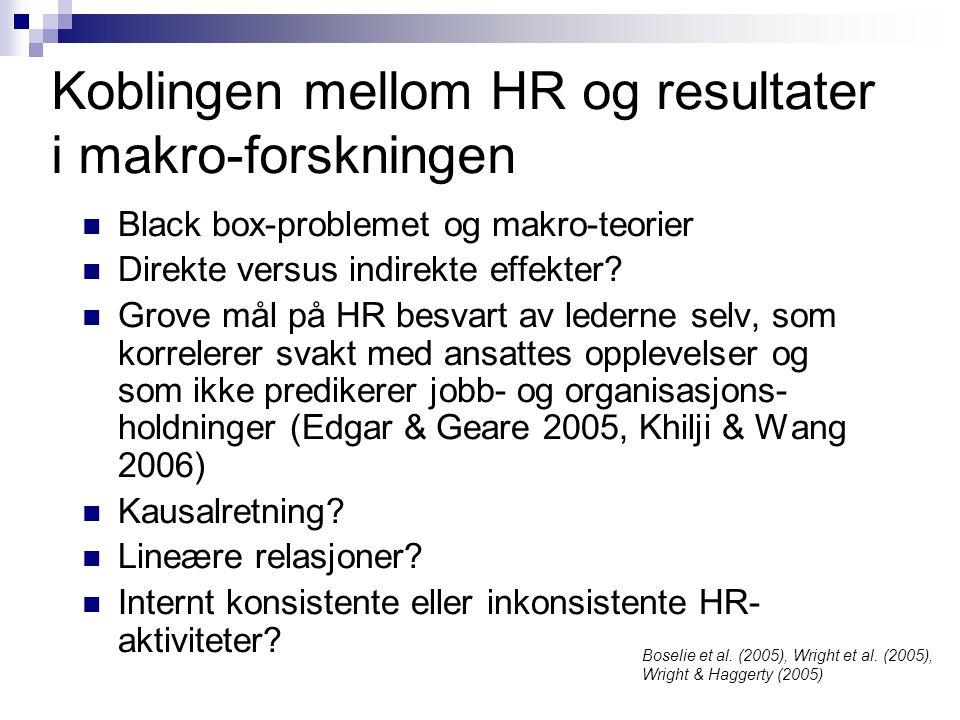 Koblingen mellom HR og resultater i makro-forskningen  Black box-problemet og makro-teorier  Direkte versus indirekte effekter?  Grove mål på HR be
