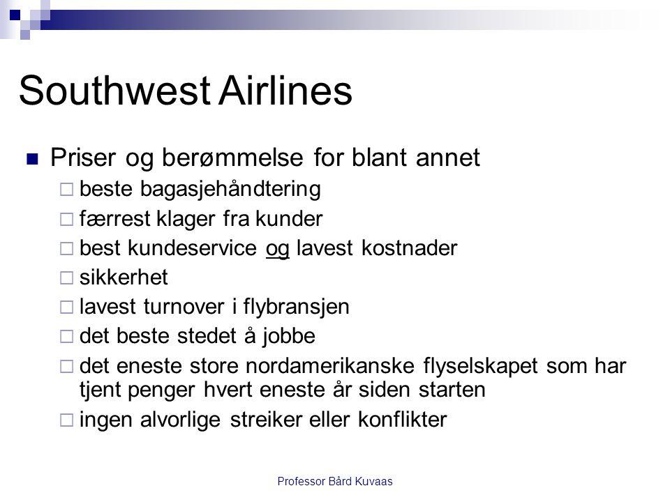Professor Bård Kuvaas Southwest Airlines  Priser og berømmelse for blant annet  beste bagasjehåndtering  færrest klager fra kunder  best kundeserv