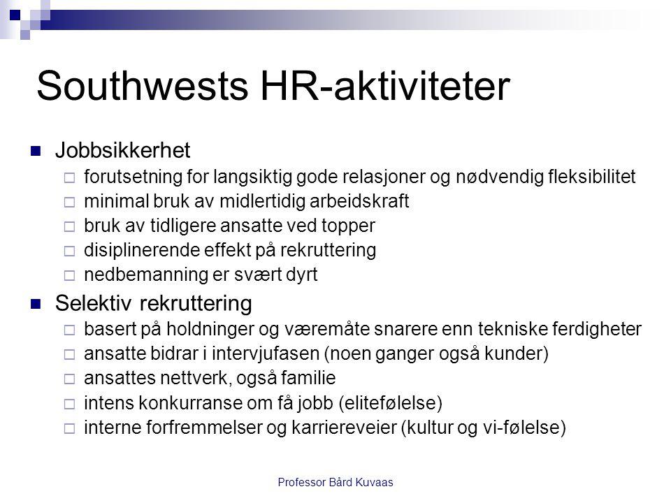 Professor Bård Kuvaas Southwests HR-aktiviteter  Jobbsikkerhet  forutsetning for langsiktig gode relasjoner og nødvendig fleksibilitet  minimal bru
