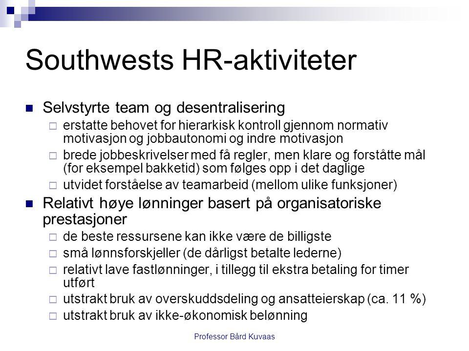Professor Bård Kuvaas Southwests HR-aktiviteter  Selvstyrte team og desentralisering  erstatte behovet for hierarkisk kontroll gjennom normativ moti