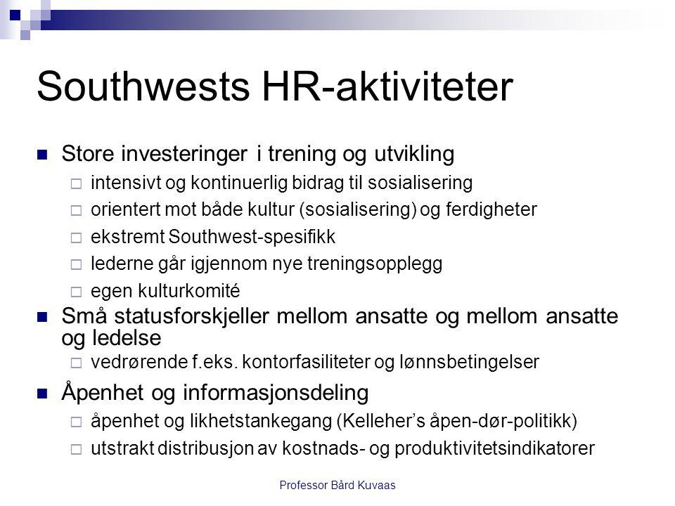Professor Bård Kuvaas Southwests HR-aktiviteter  Store investeringer i trening og utvikling  intensivt og kontinuerlig bidrag til sosialisering  or
