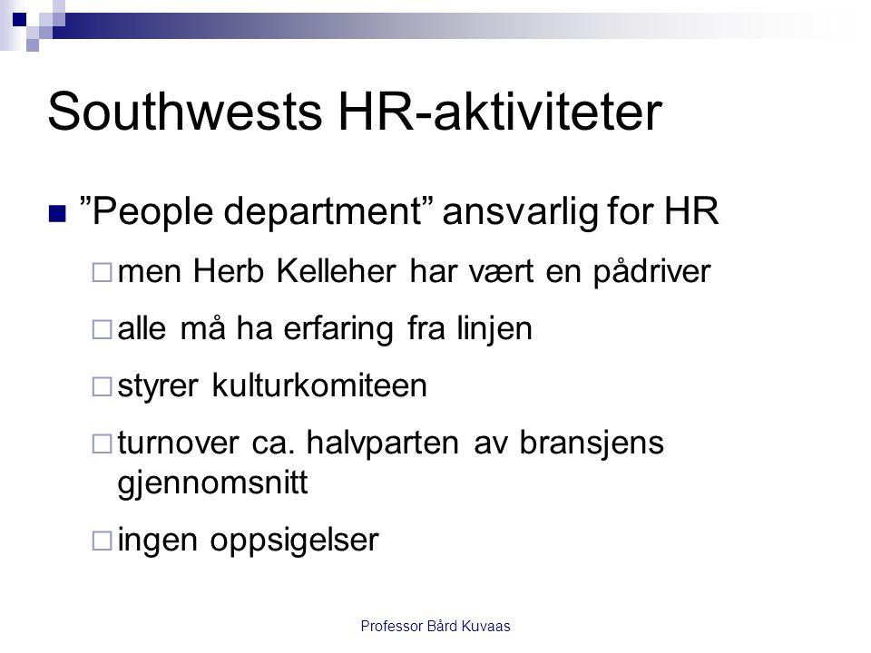 """Professor Bård Kuvaas Southwests HR-aktiviteter  """"People department"""" ansvarlig for HR  men Herb Kelleher har vært en pådriver  alle må ha erfaring"""