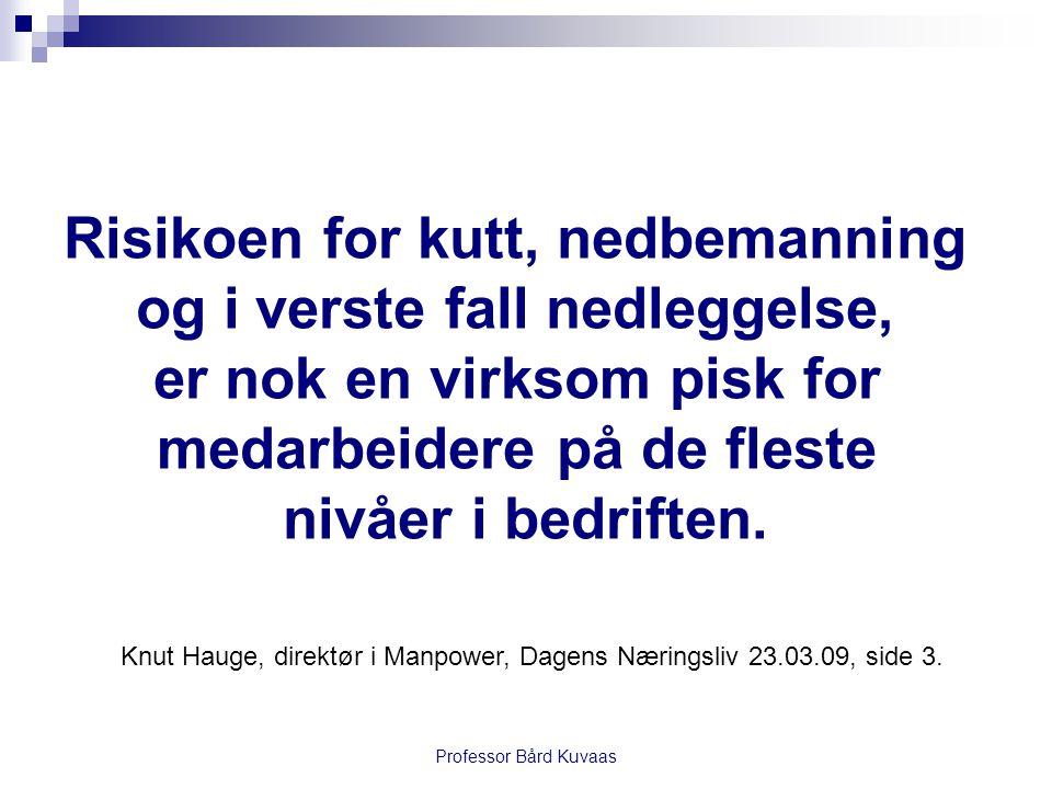 Professor Bård Kuvaas Risikoen for kutt, nedbemanning og i verste fall nedleggelse, er nok en virksom pisk for medarbeidere på de fleste nivåer i bedr
