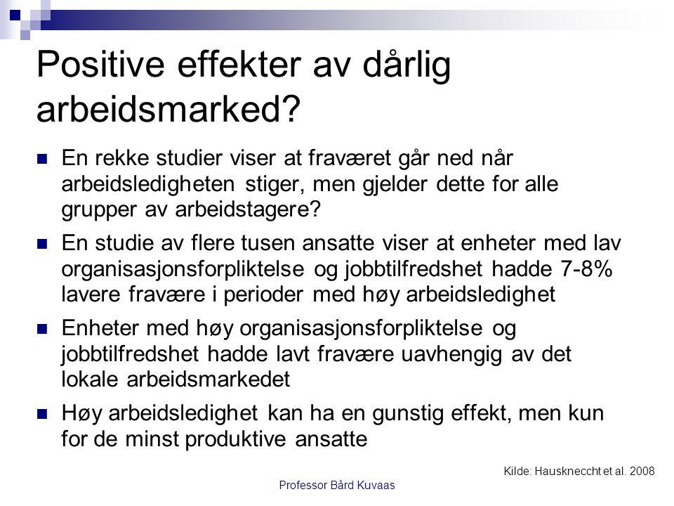Professor Bård Kuvaas Positive effekter av dårlig arbeidsmarked?  En rekke studier viser at fraværet går ned når arbeidsledigheten stiger, men gjelde