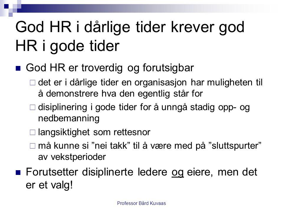 Professor Bård Kuvaas God HR i dårlige tider krever god HR i gode tider  God HR er troverdig og forutsigbar  det er i dårlige tider en organisasjon
