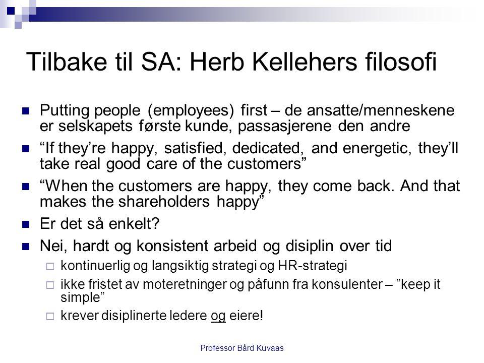 Professor Bård Kuvaas Tilbake til SA: Herb Kellehers filosofi  Putting people (employees) first – de ansatte/menneskene er selskapets første kunde, p