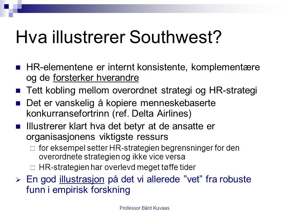 Professor Bård Kuvaas Hva illustrerer Southwest?  HR-elementene er internt konsistente, komplementære og de forsterker hverandre  Tett kobling mello
