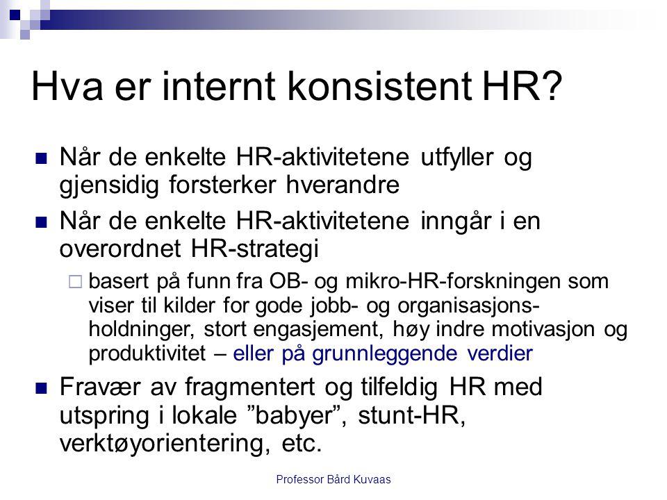 Professor Bård Kuvaas Hva er internt konsistent HR?  Når de enkelte HR-aktivitetene utfyller og gjensidig forsterker hverandre  Når de enkelte HR-ak