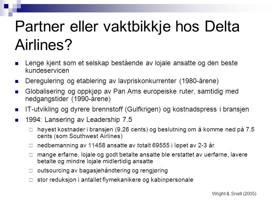 Partner eller vaktbikkje hos Delta Airlines?  Lenge kjent som et selskap bestående av lojale ansatte og den beste kundeservicen  Deregulering og eta
