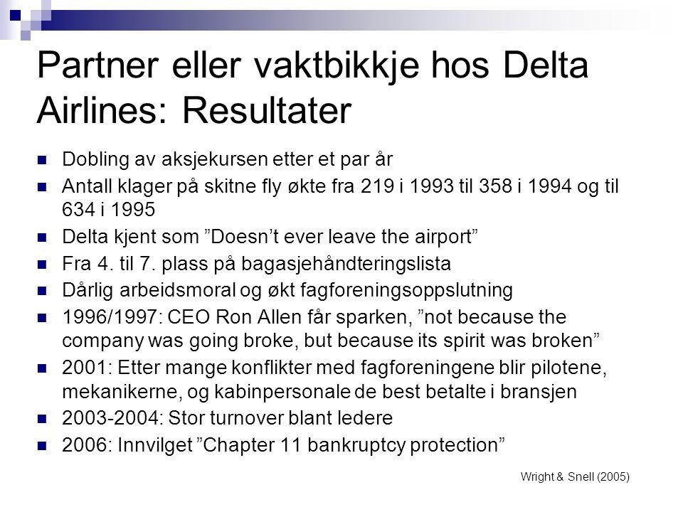 Partner eller vaktbikkje hos Delta Airlines: Resultater  Dobling av aksjekursen etter et par år  Antall klager på skitne fly økte fra 219 i 1993 til