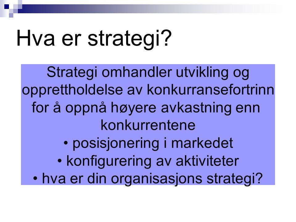 Hva er strategi? Strategi omhandler utvikling og opprettholdelse av konkurransefortrinn for å oppnå høyere avkastning enn konkurrentene • posisjonerin